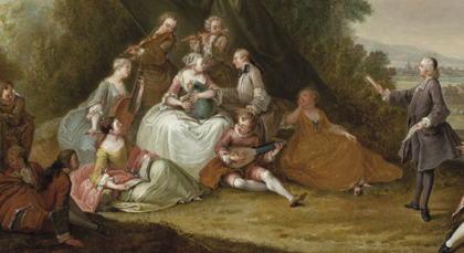 Jean-Antoine Watteau (1684-1721) (in the manner of ), Music Party under an Awning in a Landscape (detail),Brodie Castle.