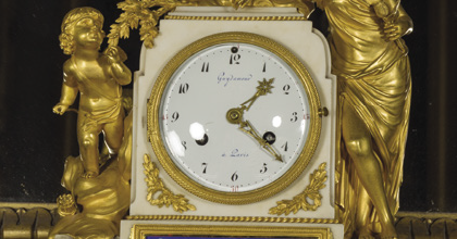 Directoire ormolu-mounted 18th-century French mantel clock, Brodie Castle