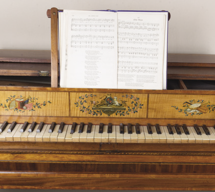 While this piano at House of Dun is sadly currently too fragile to be played, a visit could be enhanced by playing a recording of the music on the stand.