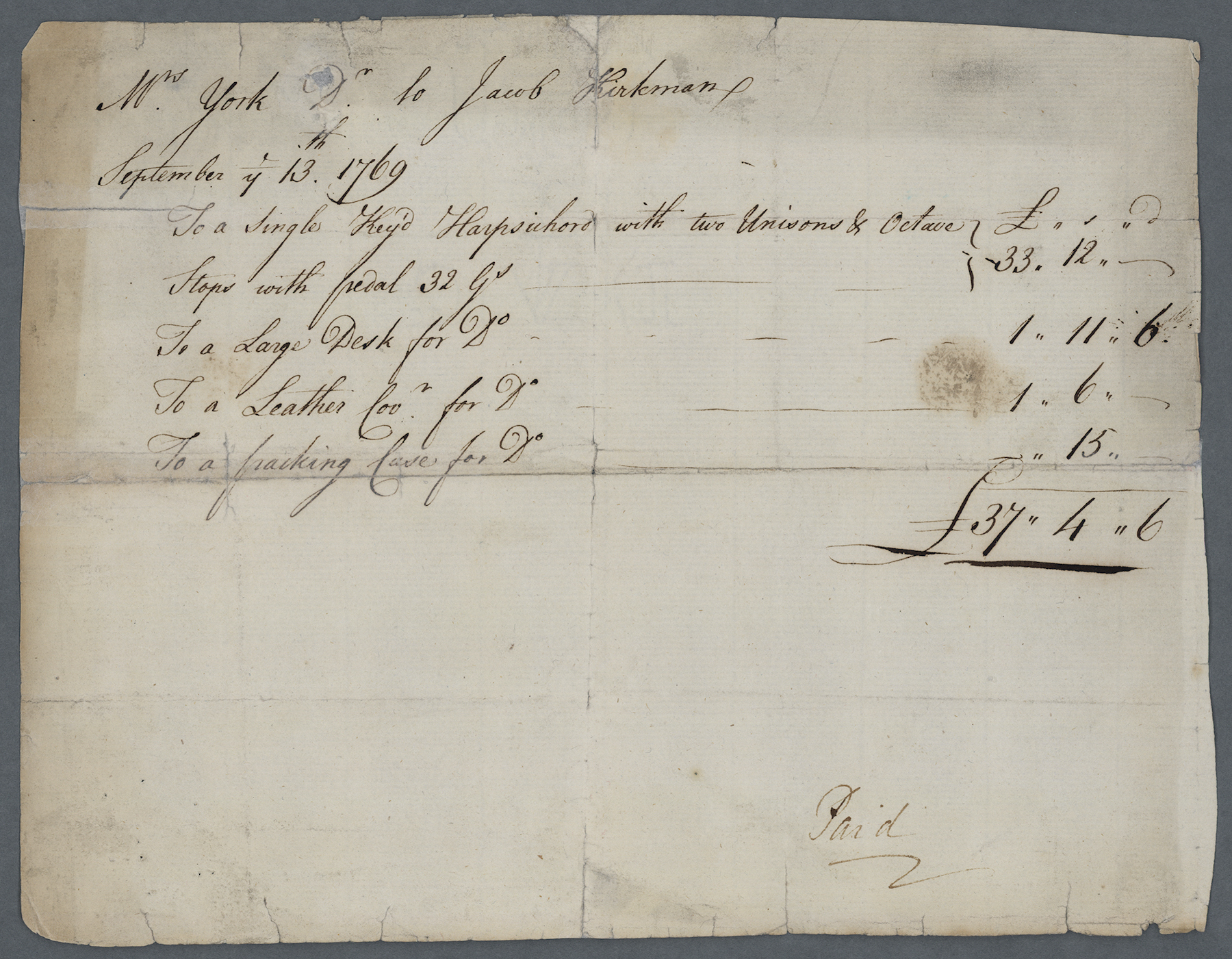 Bill for AJY's harpsichord