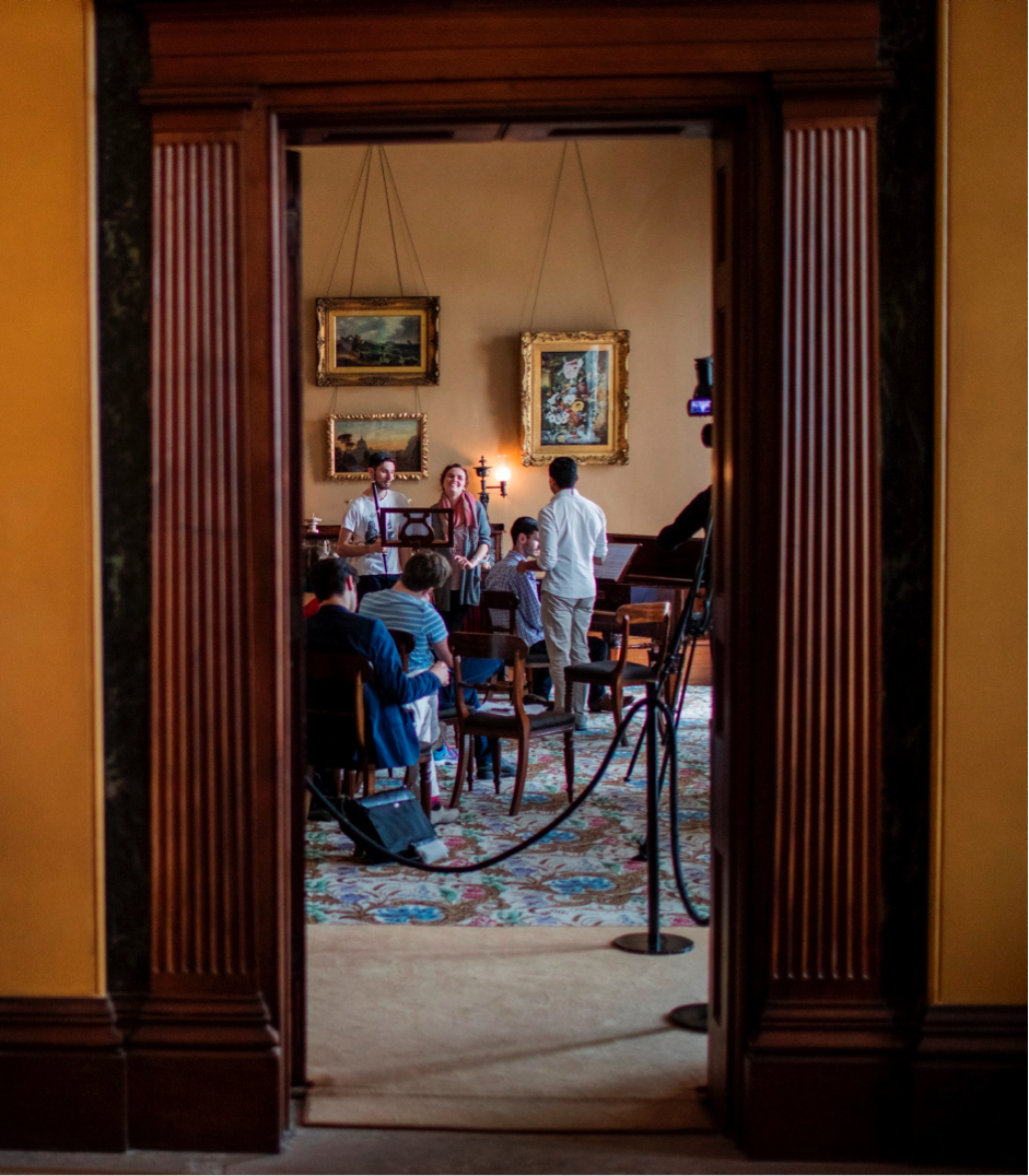 During a rehearsal in the Elizabeth Bay House drawing room. Photo (c) James Horan for Sydney Living Museums