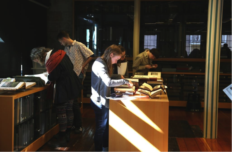 HPU students in the Caroline Simpson Library & Research Collection. Photo (c) Jennifer Rayner for Sydney Living Museums