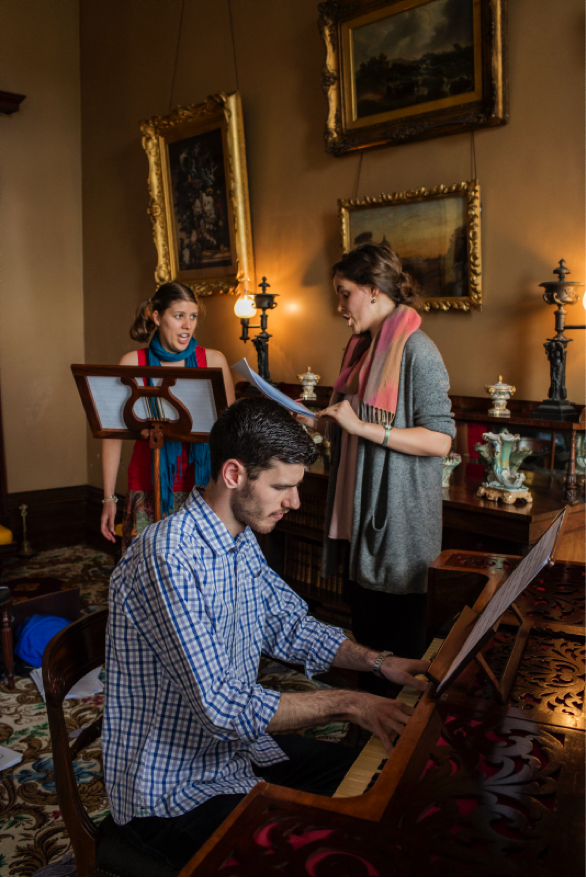Johanna Knoechel, Nyssa Milligan and Nathan Cox in rehearsal. Photo (c) James Horan for Sydney Living Museums