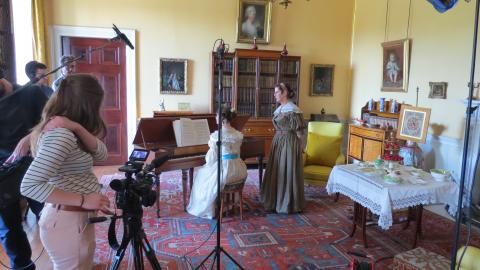 Filming in the Yellow Drawing Room, Tatton Park