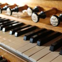 Keyboard of the Bevington organ at Erddig